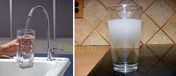 Белый осадок в воде после фильтра