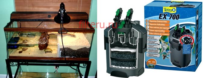 На какую глубину устанавливать фильтр в аквариум для черепах