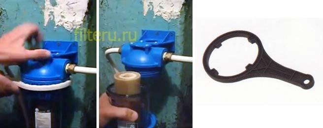 Как самостоятельно установить колбу фильтра для воды