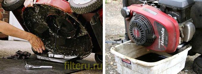 Замена масла в газонокосилке