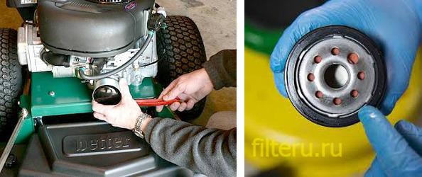 Почему фильтр в газонокосилке весь в масле