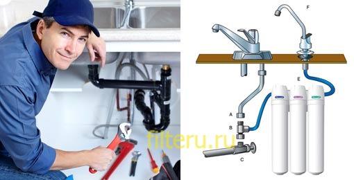 Подключение фильтра для воды к смесителю
