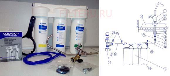 Установка фильтра для воды от Аквафор