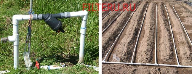 Пример установки капельного полива с фильтром