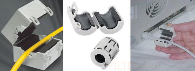 Ферритовые кабельные фильтры с защелкой