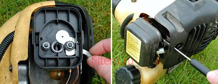 Как почистить воздушный фильтр в триммере