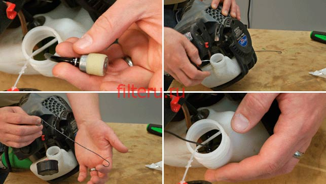 Как меняется топливный фильтр в триммере