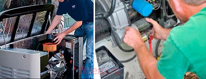 Замена фильтров в генераторе электричества