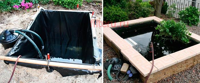 Установка напорного фильтра для очистки пруда