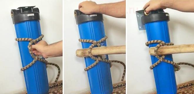 Какими подручными средствами открутить колбу фильтра для воды