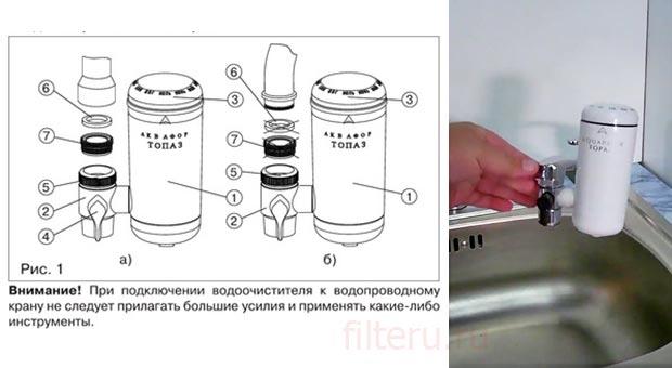 Как установить фильтр-насадку на кран