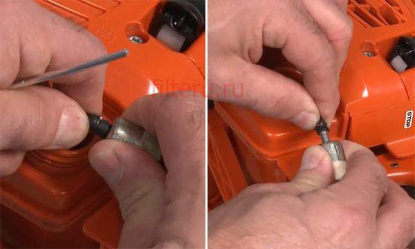 Как снять топливный фильтр бензопилы