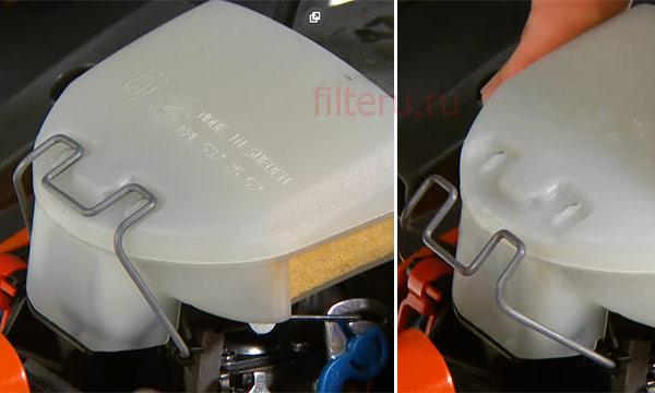 Прочистка воздушного фильтра бензопилы